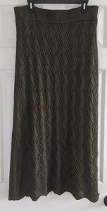 Lapis Knit Maxi Skirt Olive Green